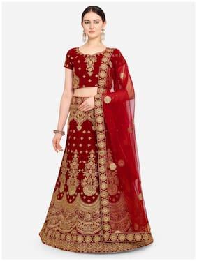 Anvith  Women Velvet Embroidered Red Lehenga Choli