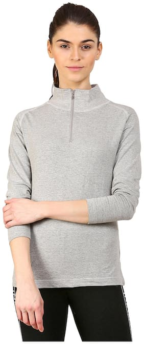 Ap'pulse Women Grey Regular fit Mock neck Cotton T shirt