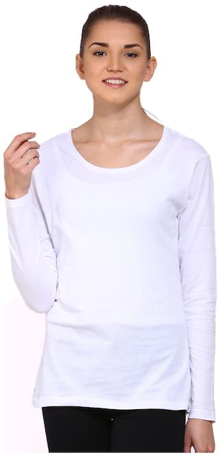 Ap'pulse Women White Regular fit Round neck Cotton T shirt