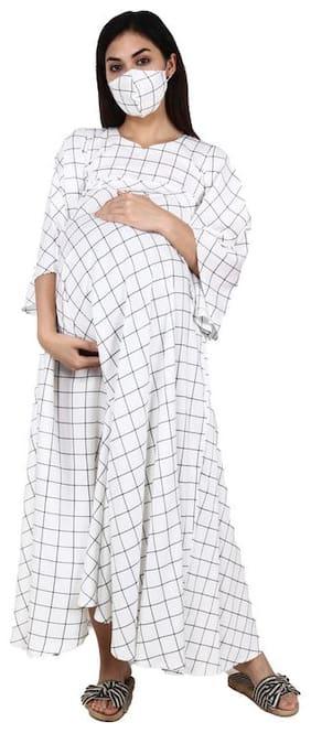 Apella Women Maternity Dress - White L