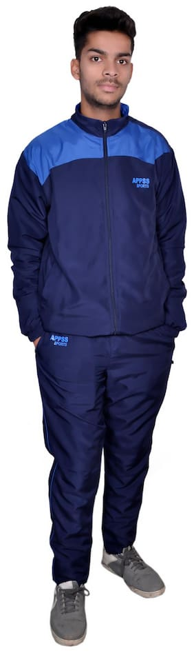 APPSS SPORTS Tracksuit for Men Regular Super Poly Tracksuit Regular fit Stylish Casual and Gym wear Specially Designed for Athletic Body (Navy Sky)