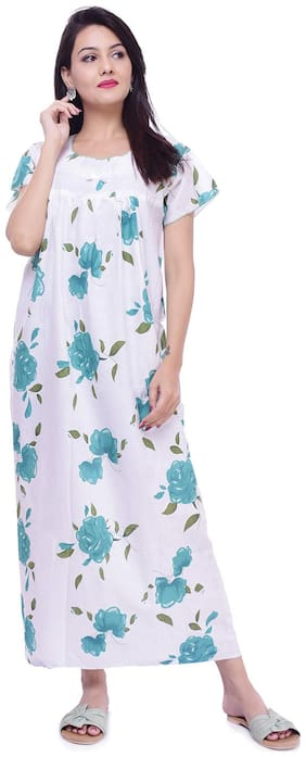 Women Printed;Lace Nightdress