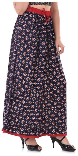 Pants Blue Flared Color Women Palazzo Apratim Rayon n6z1Yqxw