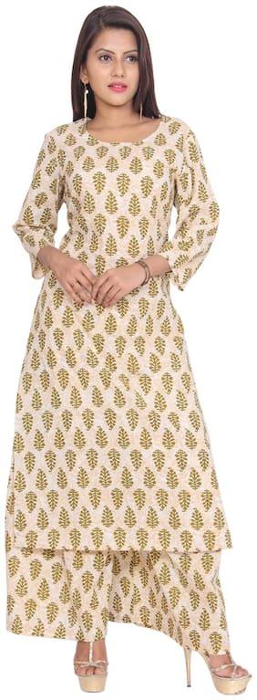Aprique Fab Women Cotton Printed Straight Kurti dress - Beige