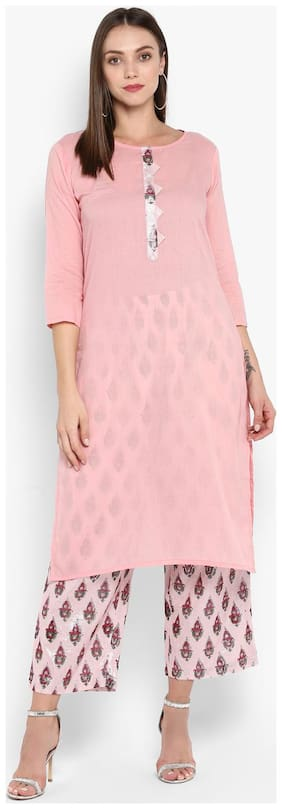 Aprique Fab Women Pink Solid Straight Kurta With Palazzo