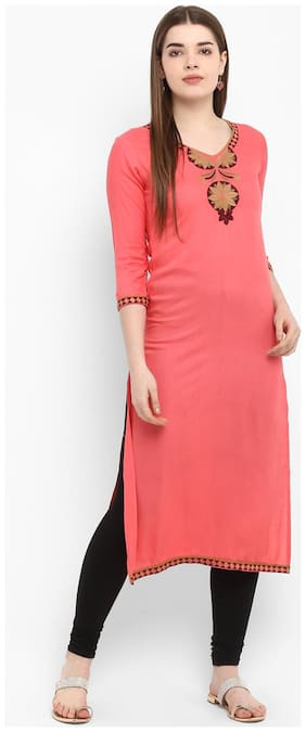 Aprique Fab Women Rayon Embroidered Straight Kurti dress - Red