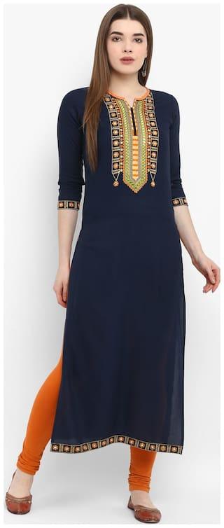 Aprique Fab Women Rayon Embroidered Straight Kurti dress - Blue