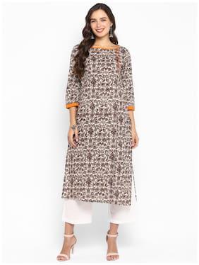 Aprique Fab Women Cotton Printed Straight Kurta - Brown