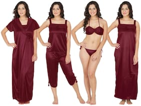 ARARA Maroon Nighty with Robe