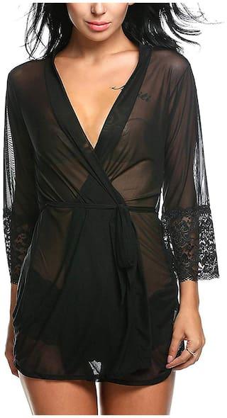 ARARA Net & Lace Robe And Lingerie Set Self Design Nightwear Black - (Pack of 2 )