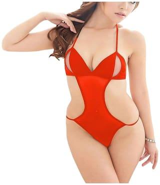 ARARA Net Babydoll Teddy Nightwear Lingerie Night Dress Red
