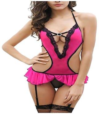 ARARA Net & Lace T-shirt Nighty Lace & Self Design Nightwear Pink - (Pack of 2 )
