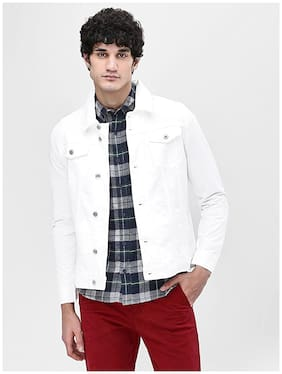 Arbia Funki Men White Solid Denim jacket