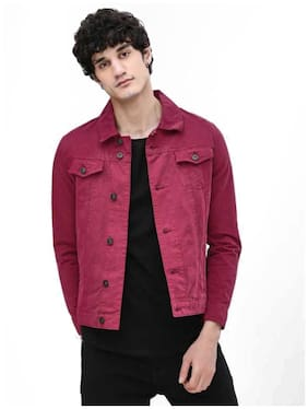 Arbia Funki Men Maroon Solid Denim jacket