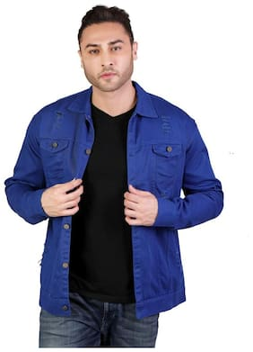 Arbia Funki Men Navy blue Solid Denim jacket