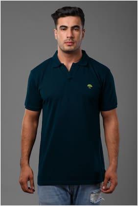 Arbour Men Navy blue Slim fit Cotton Blend Polo collar T-Shirt - Pack Of 1