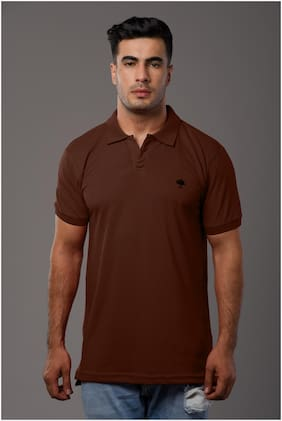 Arbour Men Brown Slim fit Cotton Blend Polo collar T-Shirt - Pack Of 1