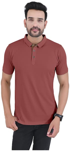 Arbour Men Maroon Slim fit Cotton Blend Polo collar T-Shirt - Pack Of 1