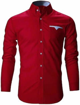 ARDYN Men Red Solid Slim Fit Casual Shirt