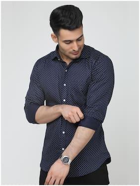 ARDYN Men Navy Blue Printed Slim Fit Casual Shirt