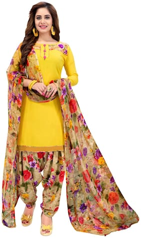 Areum Multicolor Floral Print Unstitched Synthetic Dress Material With Printed Dupatta