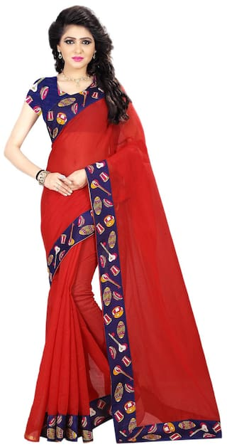 431676c52d Buy Areum Chanderi Cotton Red Plain Saree With Printed Border Online ...