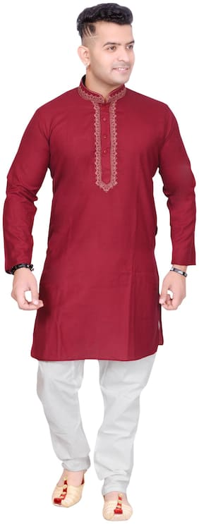 Aric Maroon Embroidered Kurta and Pyjamas & Dupatta