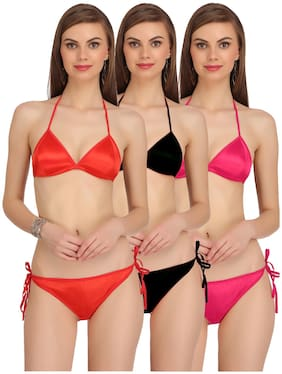 AROUSY Solid Wire free Minimizer bra Lingerie Set - Assorted