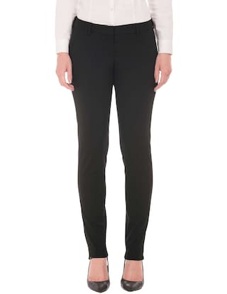 Arrow Black Polyester Flat Front Straight Fit Trousers