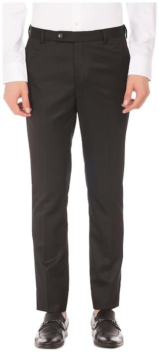 Arrow Men Solid Tapered Fit Formal Trouser - Black