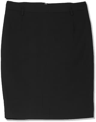 Arrow Solid Pencil skirt Mini Skirt - Black