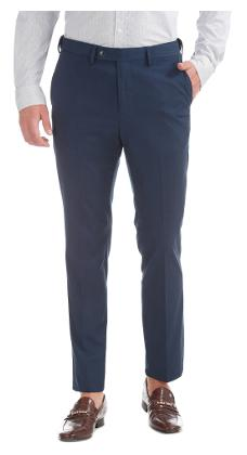 Arrow Blue Polyester Flat Front Tapered Fit Trousers