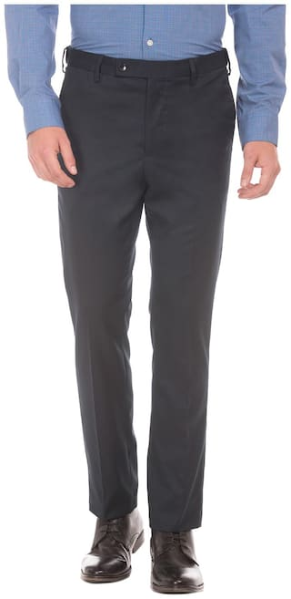 Arrow Men Solid Tapered Fit Formal Trouser - Blue
