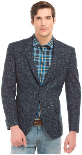 Arrow Blue Wool Patterned Regular Fit Blazer