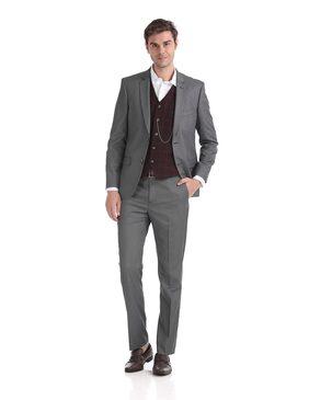 Arrow Men Polyester Regular Fit Suit - Grey