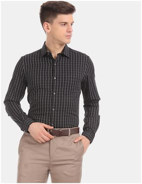 Men Super Slim Fit Checked Formal Shirt