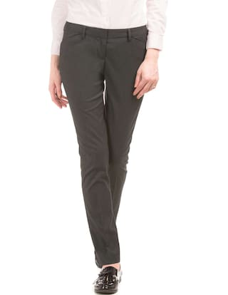 Arrow Grey Polyester Mid Rise Slim Tapered Fit Trousers