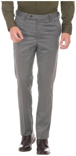 Arrow Men Solid Tapered Fit Formal Trouser - Grey