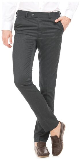 Arrow Grey Polyester Solid Tapered Fit Trousers