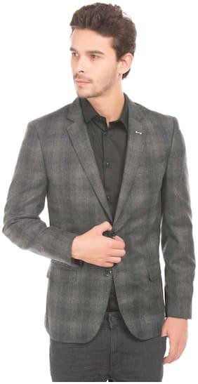 Arrow Grey Wool Single Breasted Wool Check Blazer