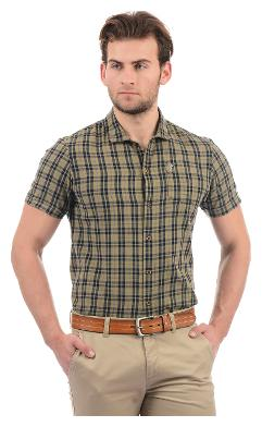 Arrow Blue Jean Men Brown Checked Super Slim Fit Casual Shirt