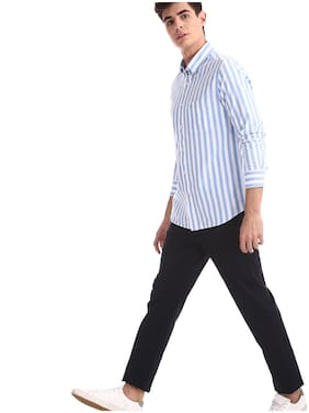 Men Slim Fit Vertical Stripes Casual Shirt