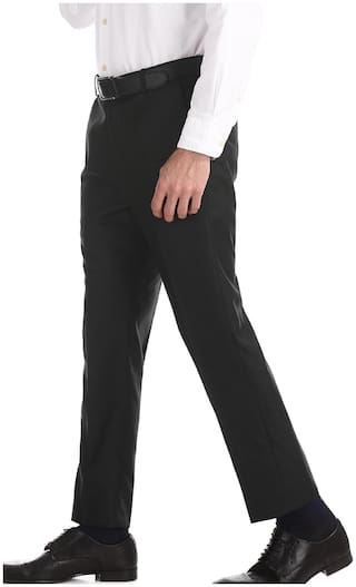 Arrow Men Textured Tapered Fit Formal Trouser - Black