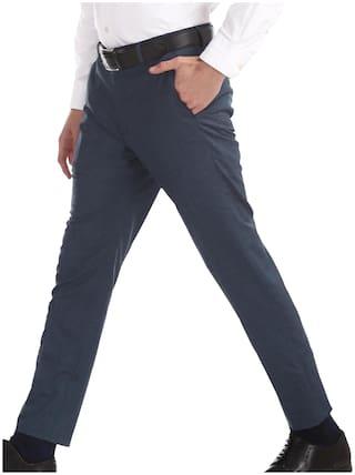 Arrow Men Textured Skinny Fit Formal Trouser - Blue