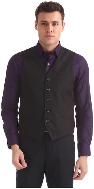 Arrow Men Polyester Slim Fit Waistcoat - Black