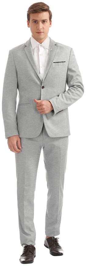 Arrow Newyork Grey Polyester Single Breasted Slim Fit Suit