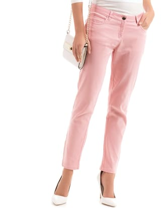 Cotton Slim Hem Arrow Zip Pink Fit Pants R5Fnnq8va