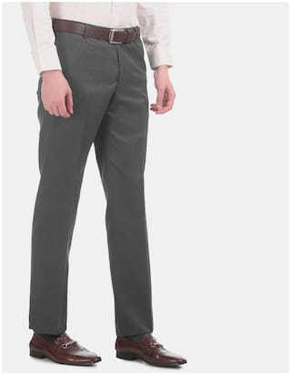 Arrow Men Solid Regular Fit Formal Trouser - Grey