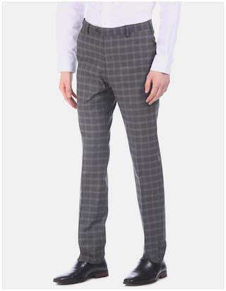 Arrow Men Checked Regular Fit Formal Trouser - Grey