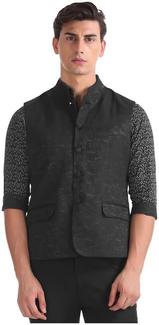 Arrow Men Polyester Regular fit Waistcoat - Black